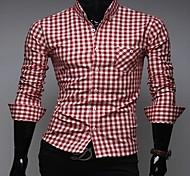 Стильная мужская шаблон проверки тонкая рубашка