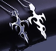 Personalized Gift   Men's Jewelry  Titanium Steel   Flame Shaped  Engraved Pendant Necklace with 60cm Chain