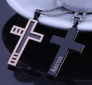 Personalized Gift Rose Gold Men's Stainless Steel Cross Shaped Engraved Pendant Necklace with 60cm Chain