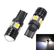 Merdia T10 1.5W 250lm 4 x 5050 SMD LED + 1 condensador de la lente de la luz blanca de coches Luz de la cola (12 V / 2 piezas)