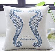Elegant Blue Sea Horses In Love Decorative Pillow Cover