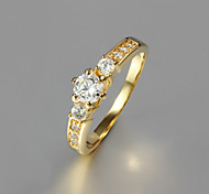 Gift For Girlfriend Classic Clear Rhinestone Statement Rings(Gold)(1 Pc)