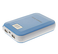 12000mAh High Capacity Dual-Ports Polymeride LCD Power Bank for Cell Phones and Pads (Blue)
