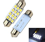 Merdia  39mm 12 x SMD  3528  LED  White   License  plate   light / Instrument lamp (2 PCS)