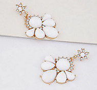 Sweet White Resin (Round And Water Drop) Gold Alloy Drop Earrings (1 Pair)