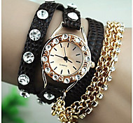 Women's Fashion Diamante Round Dial Pu Band Quartz Analog Bracelet Watch (Assorted Colors)