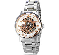 Men's Auto-Mechanical Fashion Bronze Case Skeleton Steel Band Wrist Watch (Assorted Colors)