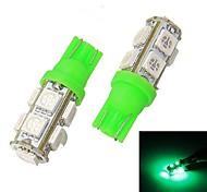 Merdia T10 9 x 5050 SMD LED Verde Light Reading / Instrument luce / Clearance della lampada (coppia / 12V)