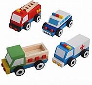 Baby  Educational Toys Wooden Car Block 4pcs/set