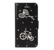 DIY raqueta de bádminton y el patrón de la bicicleta con la caja del cuero del cuerpo del Rhinestone completo con soporte para iPhone 5/5S