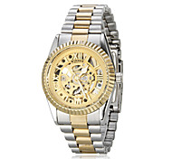 Women's Auto-Mechanical Retro Hollow Golden Dial Steel Band Wrist Watch