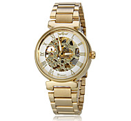 Unisex Auto-Mechanical Retro Golden Skeleton Steel Band Wrist Watch