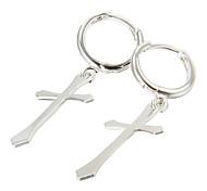 presente para namorado moda cruz brincos (simples) em liga de prata (1 par)