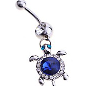 Lureme®316L Surgical Titanium Steel Full Crystals Turtle Pendant Body Jewelry \ \ \ \ \ \