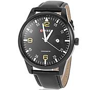 Calendário dos homens Round Dial Pu couro banda relógio de pulso de quartzo analógico (cores sortidas)