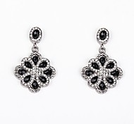 Stoneset Flower Drop Earrings