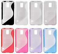 S Linie Anti-Rutsch-Translucent Plastic TPU Kickstand Case für Samsung Galaxy i9600 S5