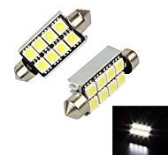 Merdia 41mm 8 x 5050 SMD LED de luz blanca del adorno de la matrícula Decodificación de coches de la lámpara / luz de lectura (par / 12 V)