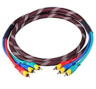 CM002 High Quality OD 10.0 AV Cable 3-RCA Male to Male Connection Cable (180cm)