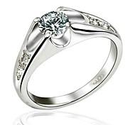 Weißes Gold 18K überzog Prinzessin Cut Zircon Hochzeits-Ring