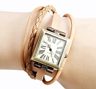 Women's Vintage Square Dial Pu Band Quartz Analog Bracelet Watch (Assorted Colors)