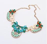(1 Pc)European (Diamond Pendant Diamond Petal Sweet Personality) Golden Alloy Pendant Necklace(Blue)