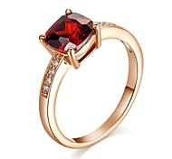 rojo anillo de bodas de rubí diamante simulado de dama