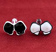 Fashion Bowknot Black-White Alloy Stud Earrings (1 Pair)