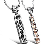 Fashion Hollow Pattern Stainless Steel Couple's Necklace(2 PCS)