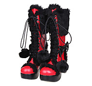 Black Plush Platform Red PU Gothic Lolita 8cm High-heeled Boots