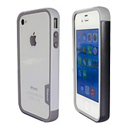 Fashion Double Color TPU Frame Bumper for iPhone4S(Black+White)