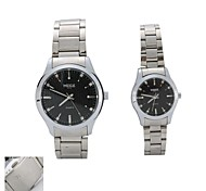 Personalized Gift  New Style Couple's Black  Case  Steel Band Quartz Analog Wrist Engraved Watch  with Gift Box