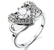 Mariage Fashion Style Bague coeur en argent (taille aléatoire)