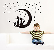 1PCS Black Removable Space Cat Wall Sticker