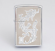 Personalized Engraved Dragon Pattern Silver Oil Lighter