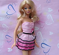 Barbie Doll Pink & Fuschia Princess Ruffled Dress
