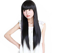 High Quality Synthetic Full Bangs Capless Long Straight Hair Wig(Natural Black)