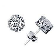 presente para namorada clássico (strass esfera da coroa) banhado a prata brincos (1 par)