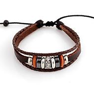 Del cerchio di modo 13 centimetri unisex Caffè in pelle con braccialetto di cuoio strass (1 Pc)