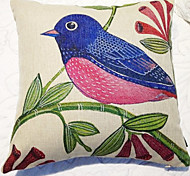 Country Pink Bird Pattern Decorative Pillow With Insert