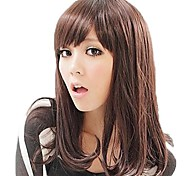 Lady Long Lovely Curly Hair Synthetic Side Bang Wigs 3 Colors Available