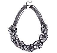 (1 Pc)Vintage (Layered Diamond Chain Necklace) Black Alloy Statement Necklace(Gun Black)