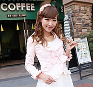 Princess Style Pink Polyester Slim Sweet Lolita Coat with Bow
