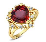 Shining Red Austria Crystal Ocean Heart Ring