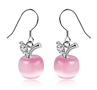 Gift For Girlfriend Sweet (Opal Apple Drop) Silver Plated Drop Earrings(White,Pink) (1 Pair)