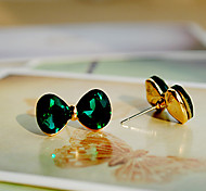 Green Bow Crystal Earrings