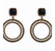 Stoneset Circle Drop Earrings