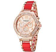 Women's Elegant Diamond Gold Case Steel Band Quartz Wrist Watch (Assorted Colors)