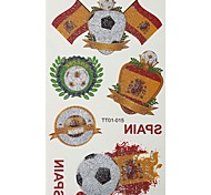 2PCS Football Pattern Spain World Cup Waterproof Tattoo Body Temporary Glitter Stickers