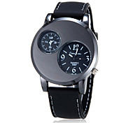 Men's Analog Diamante Round Dial Rubber Band Quartz Analog Fashion Watch (Assorted Color)